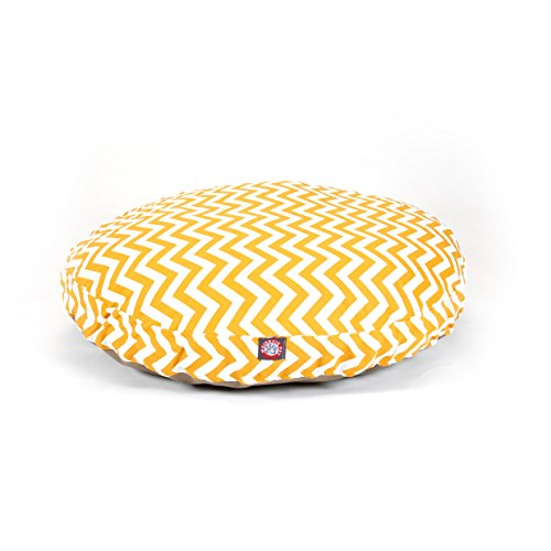 Large Yellow Chevron Stripes Pattern Dog Bed, Elegant Zig Zag Stripe-Inspired Print Pet Bedding, Round Shape, Features Water, Stain Resists, Removable Cover, Soft & Comfy Design, Plush Polyester by CU