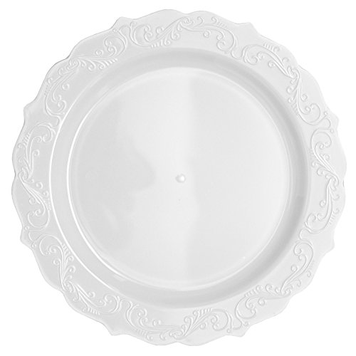 Posh Setting Elegant Collection 40 Pack China Look 10.25 Inch White Plastic dinner Plates, Fancy Disposable Dinnerware