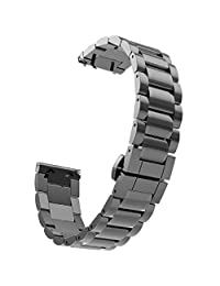 Tonsee Stainless Steel Watch Band Strap Metal Clasp For Samsung Galaxy Gear S2 Classic SM-R732 - Black