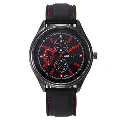 2019 Summer Deals ! Classic Black Silicone Belt Stainless Steel Sports Watch Men's Quartz Watch Wrist Watch for Men Under 10