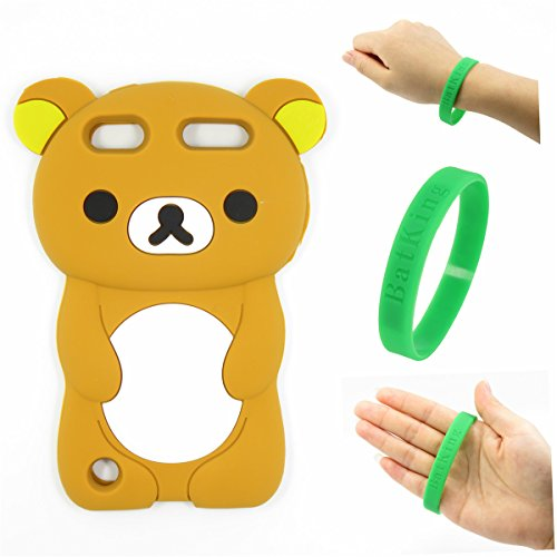 iPod Touch 5 Case,Apple iPod Touch 6 Silicone Case,Bat King 3D Cartoon Brown Rilakkuma Bear Silicon Gel Rubber Case Cover Skin for Apple iPod Touch 5/Touch 6 ()