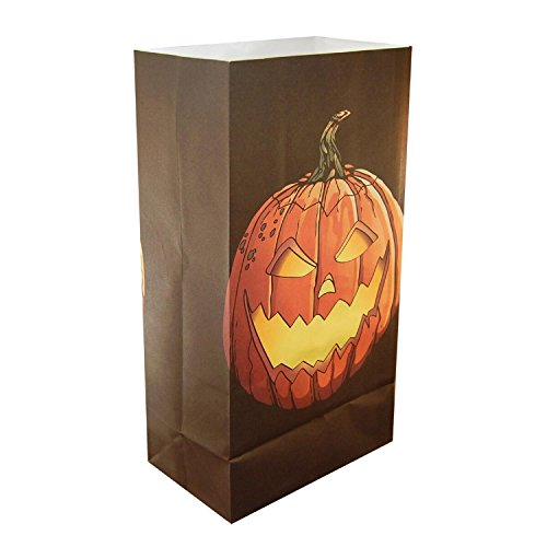 CC Home Furnishings Club Pack of 24 Jack O'Lantern Design Halloween Luminaria Bags -