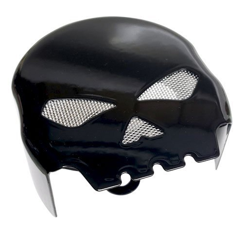 Skull Horn Cover (Tricktoppers Gloss Black Custom G Skull Style Horn Cover With Silver Metal Mesh contasting Eyes for Many 1991-2017 Harley Davidson Touring Dyna Sportster Softail And Many More)