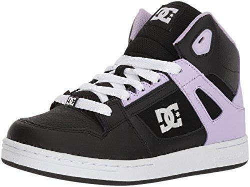 DC Pure HIGH-TOP Girls Skate Shoe, Black/Lavender, 12 M US Little Kid