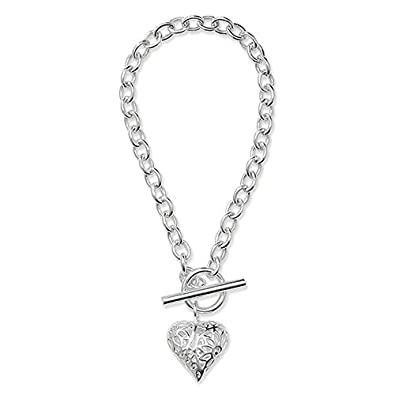 28728147d Sterling Silver 925 Puff Heart Filigree T Bar Link Bracelet 19 cm / 7.5  inch: Amazon.co.uk: Jewellery