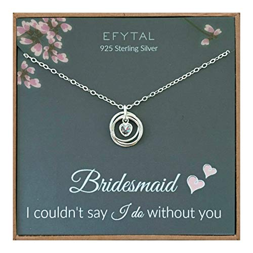 EFYTAL Bridesmaid Gifts, 925 Sterling Silver 3 Rings with CZ Heart Necklace for Bridesmaids, Bridesmaid Proposal Gift, Pendant Jewelry for Women
