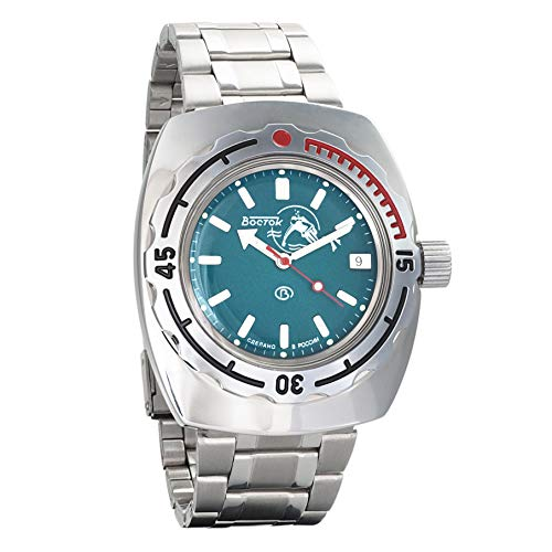 VOSTOK Amphibian Scuba Dude Automatic Mens Self-Winding Military Diver 090 Case Wrist Watch #090059 (Polished)