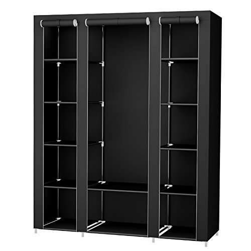 SONGMICS 59 Inch Portable Clothes Closet Wardrobe Storage Organizer with Non-woven Fabric, Quick and Easy to Assemble, Extra Strong and Durable, Black ULSF03H (Best Portable Clothes Closet)