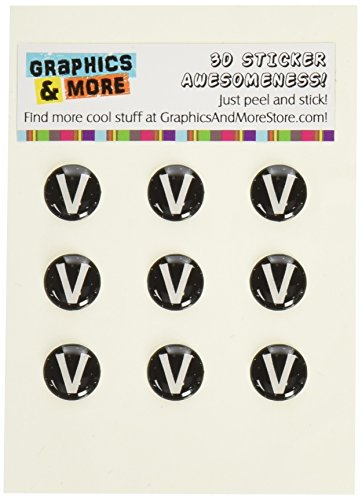 Graphics and More Letter V Initial Black And White Home Button Stickers Fits Apple iPhone 4/4S/5/5C/5S, iPad, iPod Touch - Non-Retail Packaging - Clear ()