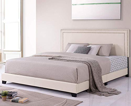 Bed Frame Upholstered Platform Mattress Foundation with Wooden Slat Support and Tufted Headboard, King