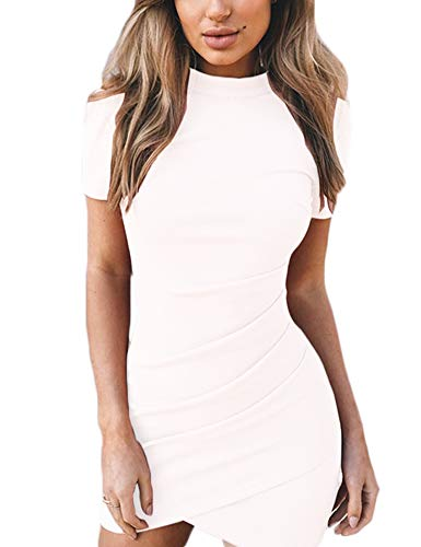 Haola Womens Ruched Bodycon T Shirt Dress Casual Short Sleeve Irregular Party Mini Dress White -