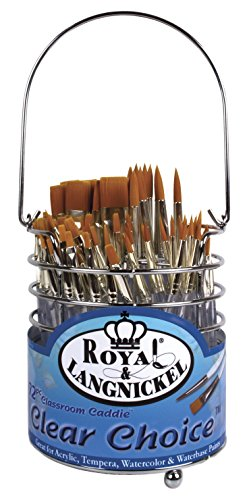 Royal Brush Clear Choice Classroom Caddies Brush Set, Assorted Size, Set of 72 Brushes and 1 Caddy by ROYAL BRUSH