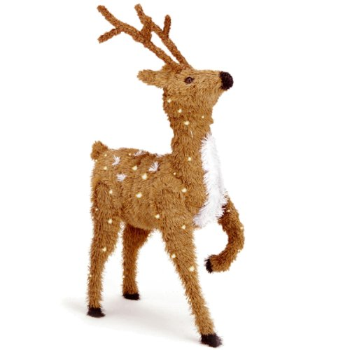 National Tree 36 Inch Creative Images Brown Prancing Reindeer with Spots and 150 Clear Lights (CI7-DBR-36PLO)