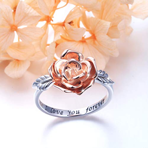 DAOCHONG S925 Sterling Silver Rose Flower Love Jewelry Bands Ring for Women Size 7 by DAOCHONG (Image #3)