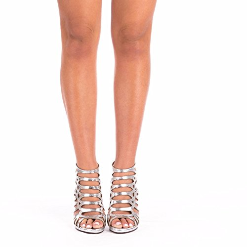 SnobUK - Zapatos con tacón mujer plata