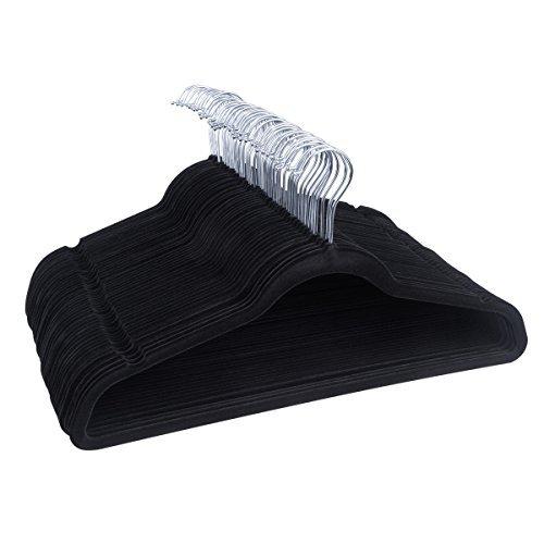 Clothing Stretcher-Velvet Hangers 50 Pack YIKALU Premium Black Velvet 360 Degree Chrome Swivel Hook Ultra Thin Non Slip Suit Hangers