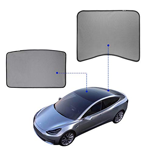 (Model 3 Glass Roof Sunshade Sunroof Rear Window Sunshade Compatible for Tesla Model 3 (2 of Set) (top roof+ Rear))