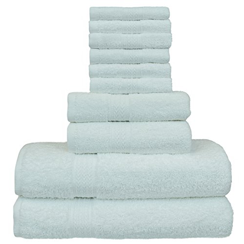 Luxury Hotel Collection 100% Cotton-Eco White - set of 10 - 2 Bath Towels, 2 Hand Towels and 6 Washcloths Towel Set - Dobby Borderr