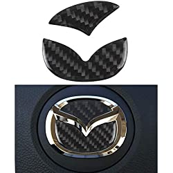 1797 Compatible Steering Wheel Logo Caps Decals Stickers for Mazda Accessories Parts B 2 3 5 6 CX3 CX5 CX7 CX9 MX5 RX8 Covers Interior Inside Decorations Trim Women Men Crystal Silver 2 Pack