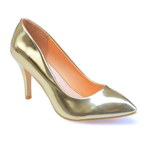 Zapatos Dorado La Vestir De Mujer Sintético Material Modeuse zfwA5qxFwR