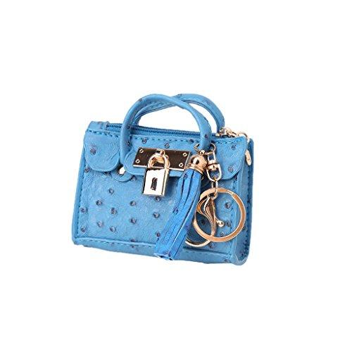 Azul Bolso Bloqueo Simplelife Cuero La Señoras De Llavero Mini Titular Bolsa Agarre Borla Decoración Mujer Monedero CqwRXZq