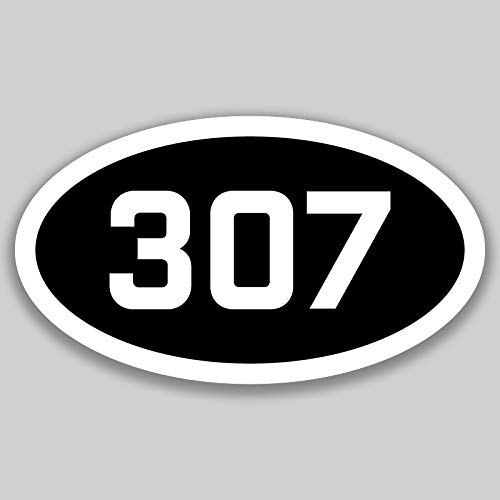 DHDM 307 Area Code Sticker Wyoming Cheyenne Casper Gillette City Pride Love | 5-Inches by 3-Inches | Premium Quality Vinyl UV Resistant Laminate PD2687