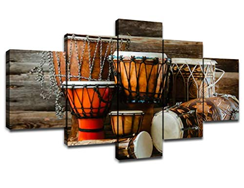 African Music Poster Wall Decor for Home Painting 5 Piece Canvas Prints Wall Art Ethnic Drums Musical Instrument Picture Decoration for Living Room Poster with Frame Ready to Hang(60''Wx32''H)