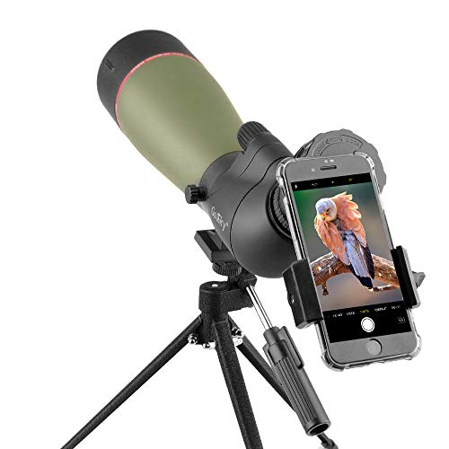 Gosky 2019 Updated 20-60x80 Spotting Scope with Tripod, Carrying Bag and Smartphone Adapter - BAK4 Angled Telescope - Newest Waterproof Scope for Target Shooting Hunting Bird Watching Wildlife Scenery by Gosky (Image #1)