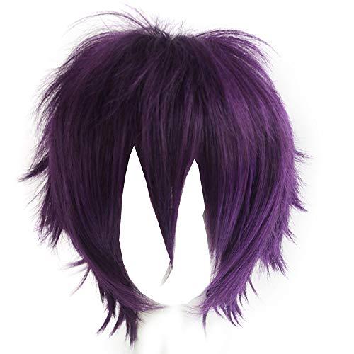 Alacos Unisex Deep Purple Daily Basic Short Hair Wig Cosplay Party+Wig Cap -