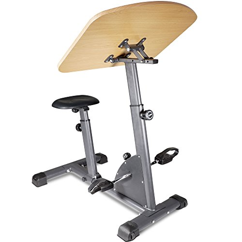Titan Fitness Cycling Adjustable Standing Exercise Desk Sit Stand Up Wooden Top