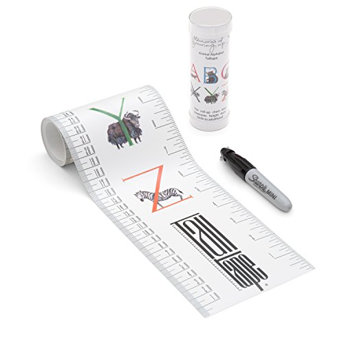 Measuring Chart (TALLTAPE - Portable, Roll-up Height Chart, FREE Sharpie Marker Pen To Measure Children From Birth, Choice of 10 Designs, a Memento For Life - Alphabet)