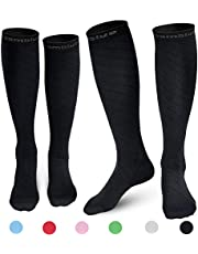 CAMBIVO 2 Pairs Compression Socks for Men and Women, Running, Flight, Crossfit, Pregnancy, Nurses, Shin Splints, Sports, Travel, Cycling, Enhance Circulation and Speed-up Muscle Recovery (20-30 mmHg)