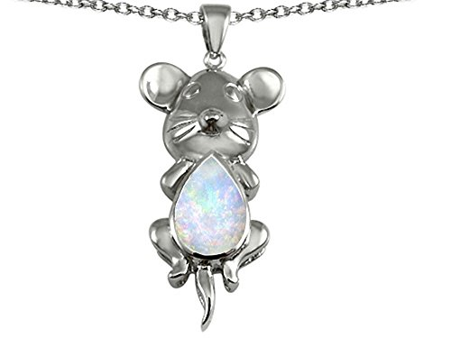 Star K Mouse Pendant Necklace with Pear Shape Created Opal Sterling Silver