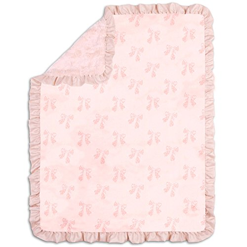 Grace Dusty Pink Bows Baby Girl Blanket by The Peanut Shell