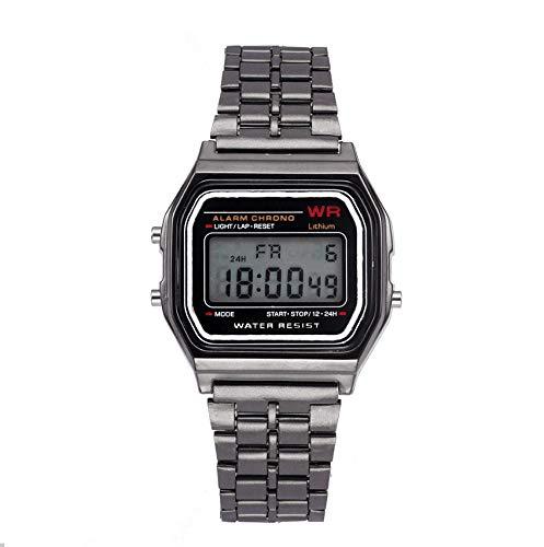 - Men's Vintage Gold Metal Band,LED Digital Waterproof Quartz Wrist Watch Illuminator Chronograph Alarm Watch (Black)