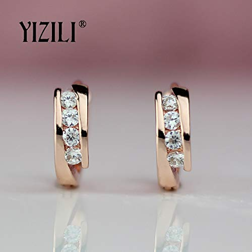 585 Rose Gold Earrings Round Natural Zircon Hanging Dangle Earrings Drop EarringFashion Jewelry Wedding A055 1 PCs ()