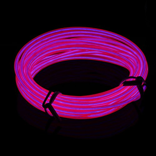 Lychee Neon Glowing Strobing Electroluminescent Light El Wire w/ Battery Pack (Pink,...