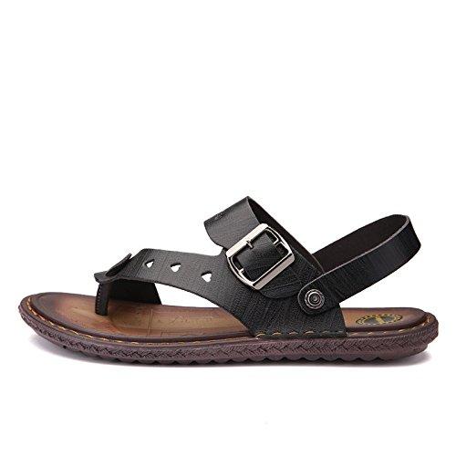 Sommer Männer Schuh Sandalen Sandalen Mode Freizeit Echtleder Sandalen Männer Rutschfest Strand Schuh ,schwarz1,US=6.5,UK=6,EU=39 1/3,CN=39