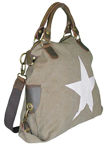 5228b70dcea5f Mevina Damen Handtasche Stern aus Canvas und Leder Schultertasche  Henkeltasche viele Farben Braun A1142  Amazon.de  Schuhe   Handtaschen