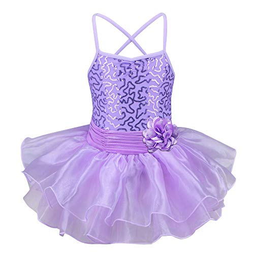 TFJH E Birthday Baby Girl Ballerina Toddler Kids Dancewear Party Dress Purple M ()
