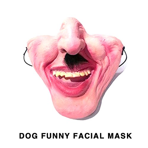 Aprettysunny Masked Dog Halloween Mask Durable Uniform Code 8 Style Prank Kidding Half Face -