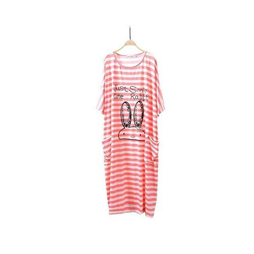 Modal Silk Pajamas Dress Large Size Nightdress Home Service for Pregnant Women Pink 4XL