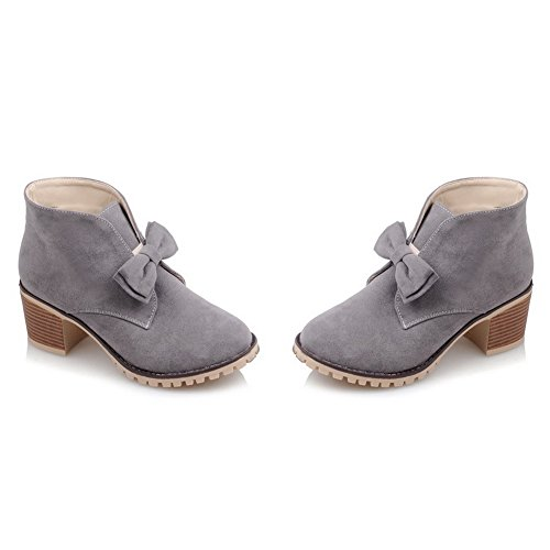 Pull Bowknot Frosted Womens Heels Gold BalaMasa Spun Chunky Boots Gray On SYBqn6