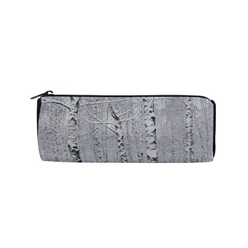 - Winter Birch Forest After Snowfall Students Super Large Capacity Barrel Pencil Case Pen Bag Cotton Pouch Holder Makeup Cosmetic Bag for Kids
