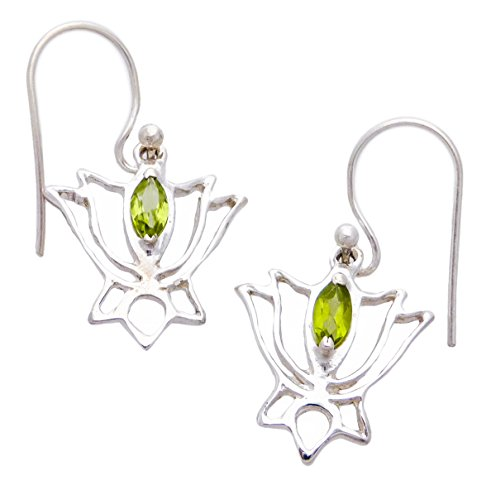 Lotus Earrings with Healing Crystal Sterling Silver Small .375""