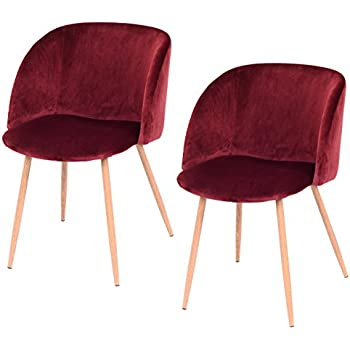 Giantex Set Of 2 Mid Century Velvet Accent Arm Chair Sofa Lounge Club Chair  Steel Legs (Red Wine)