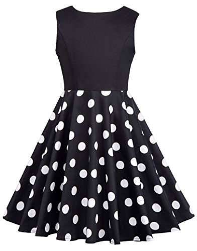 Kids Dot Print Sleeveless Vintage Summer Tea Party Dresses 10-11yrs CL600-1