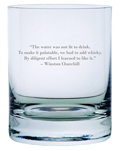Winston Churchill Quote Etched 11oz Stolzle New York Crystal Rocks Glass