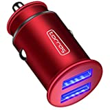 TORRAS Full Metal Car Charger, 4.8A 24W Flush Fit Dual USB Port Car Power Adapter Compatible with iPhone Xs/Xs Max/XR / X / 8/7 Plus, iPad, Samsung Galaxy S9 / Note 9 and More - Red