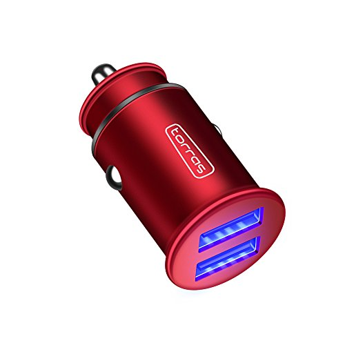 TORRAS Metal USB Car Charger, Flush Fit Dual Port 4.8A Smart Fast Charge Power Adapter Cell Phone Car Charger for iPhone X/8/7, iPad, Samsung Galaxy S9/S9 Plus and More(1-Pack) - Red